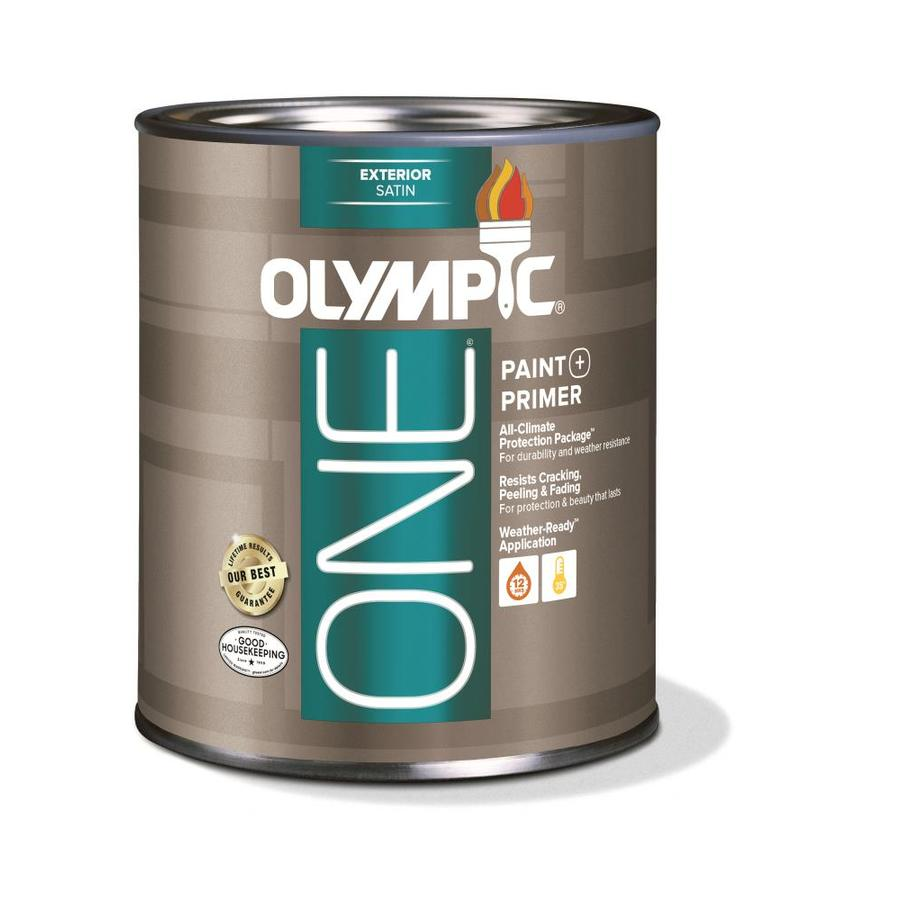 Shop olympic one base 1 ultra white satin acrylic exterior paint actual net contents 31 fl oz - Acrylic paint exterior plan ...