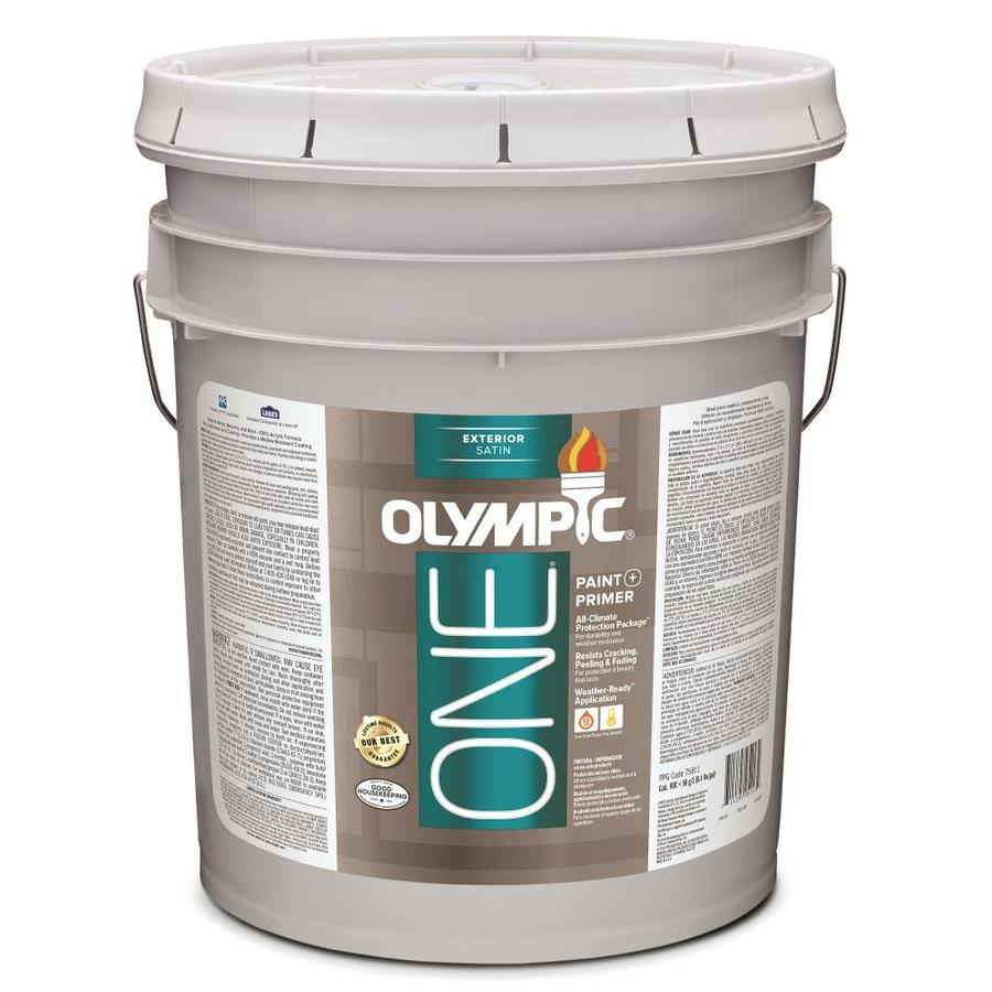 Shop Olympic One Base 1 Ultra White Satin Latex Exterior Paint Actual Net Contents 619 Fl Oz