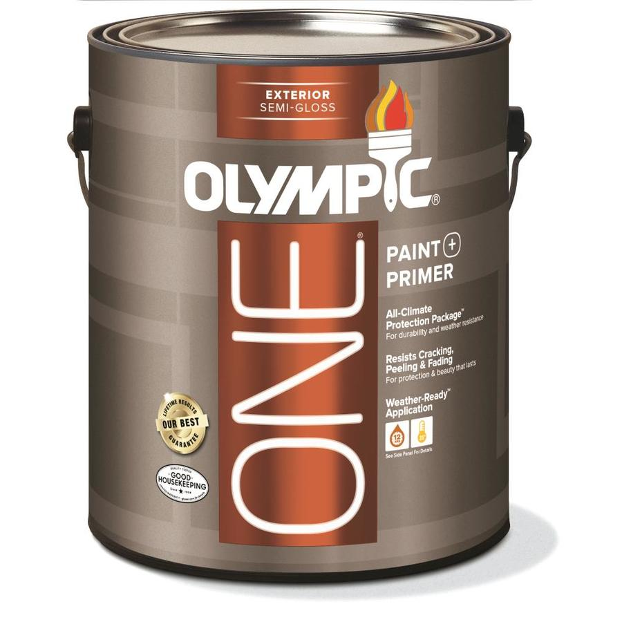 Shop Olympic One Base 1 Ultra White Semi Gloss Latex Exterior Paint Actual Net Contents 124 Fl