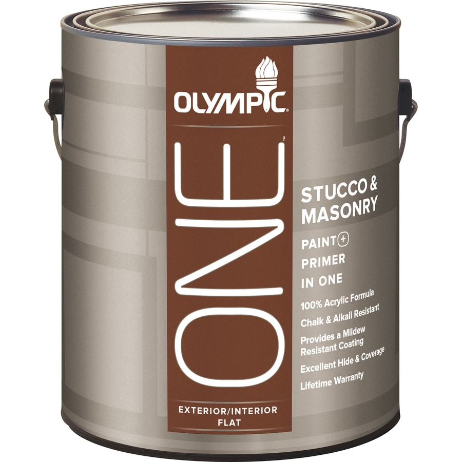 Shop Olympic One White Flat Latex Interior Exterior Paint Actual Net Contents 124 Fl Oz At