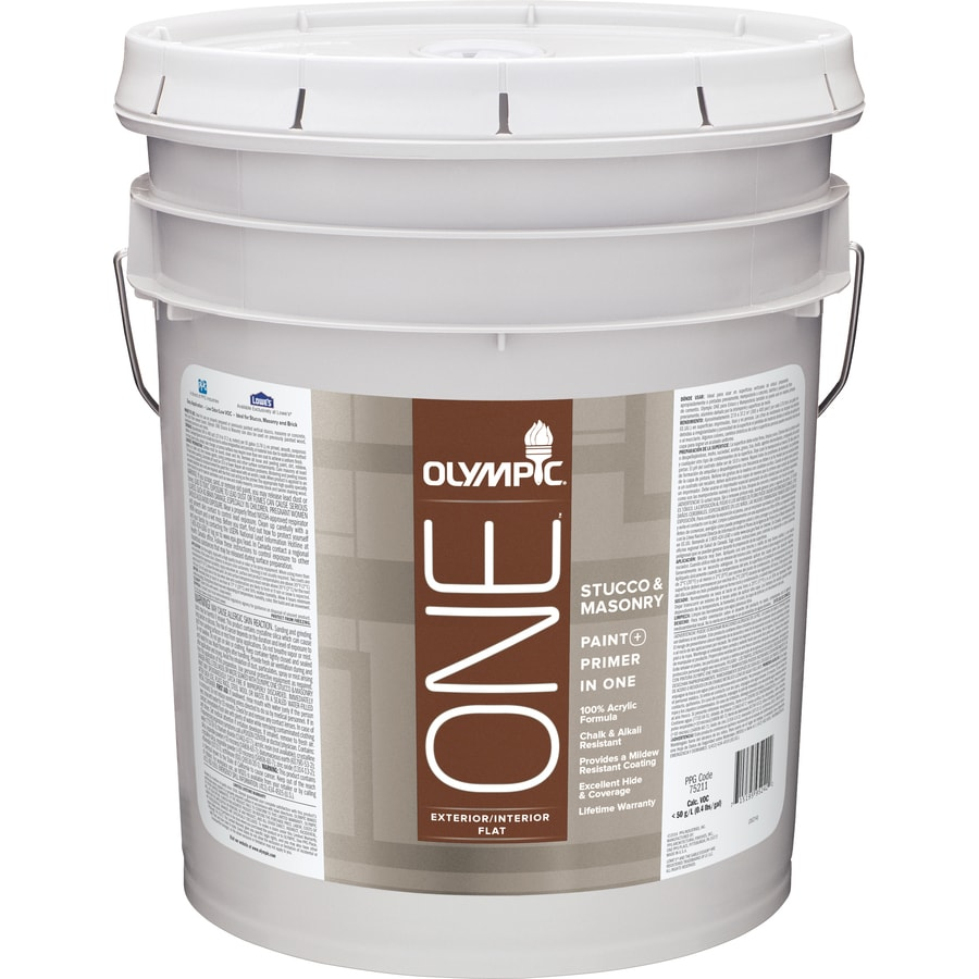 Shop Olympic One White Flat Latex Interior Exterior Paint Actual Net Contents 570 Fl Oz At