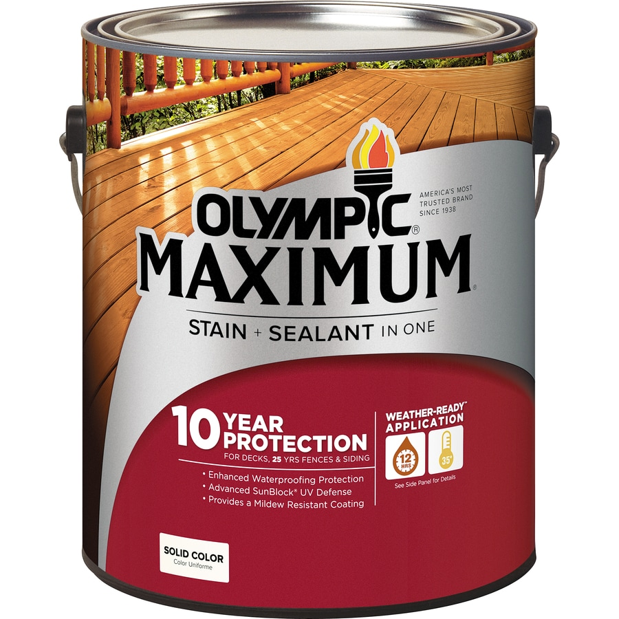 Olympic MAXIMUM Tintable White and Base 1 Solid Exterior Stain (Actual Net Contents: 120-fl oz)