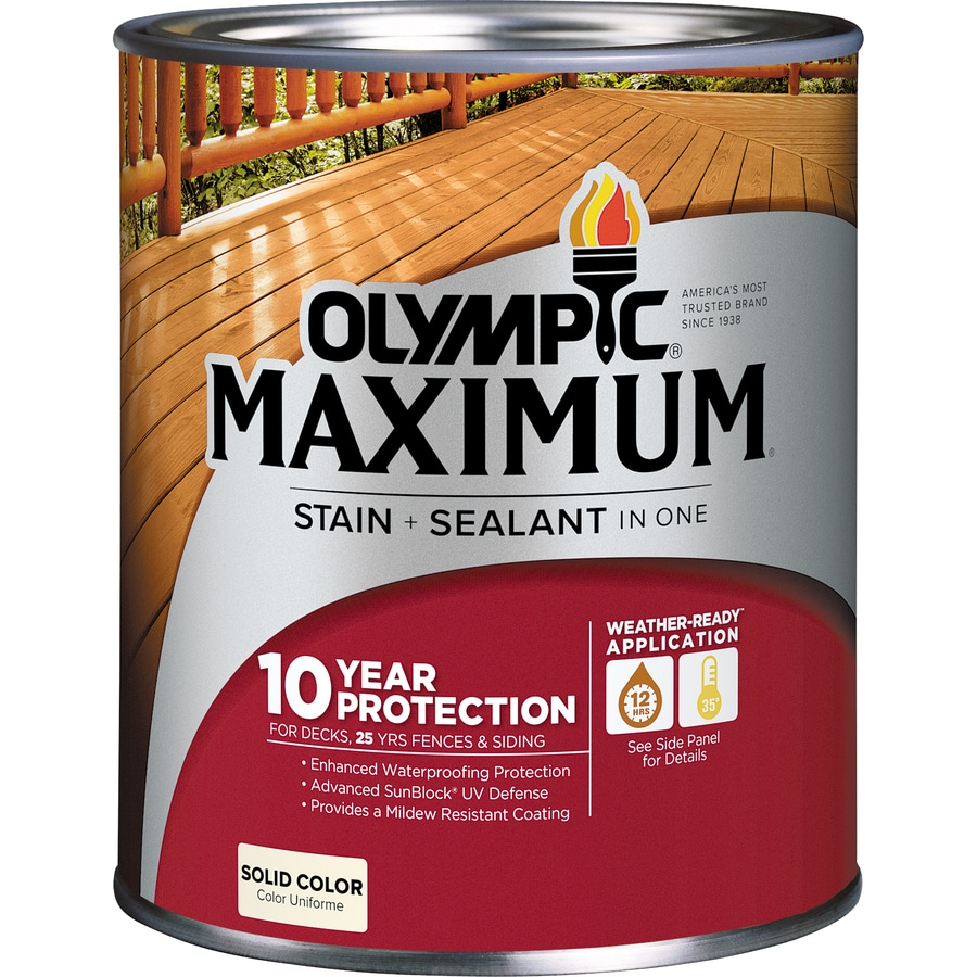 Olympic MAXIMUM Tintable White and Base 1 Solid Exterior Stain (Actual Net Contents: 30-fl oz)