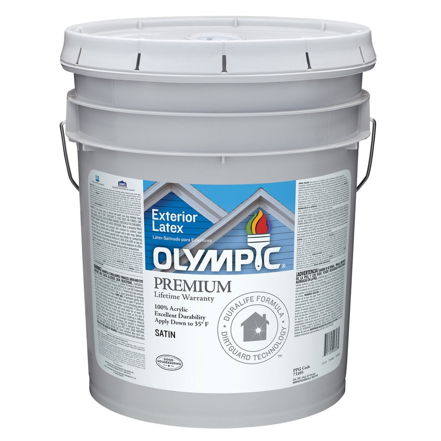 Shop Olympic White Satin Latex Exterior Paint Actual Net Contents 619 Fl Oz At