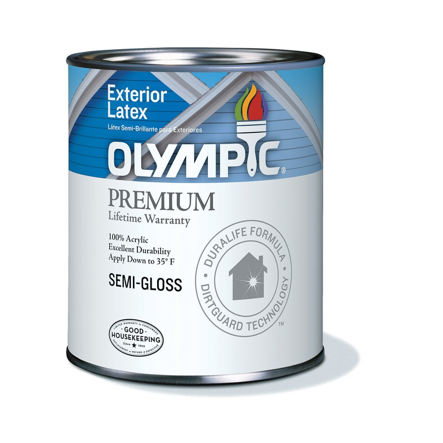 Shop Olympic White Semi Gloss Latex Exterior Paint Actual Net Contents 124 Fl Oz At