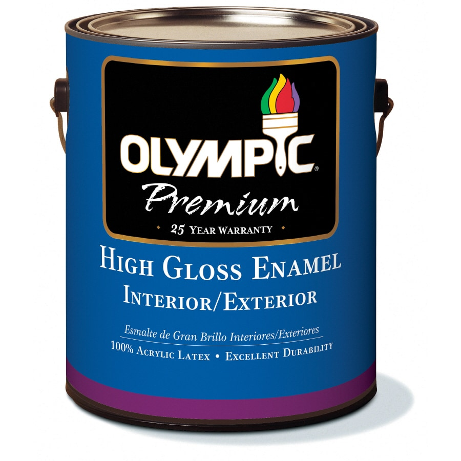 Shop Olympic 1 Gallon Interior Exterior High Gloss White Latex Base Paint At