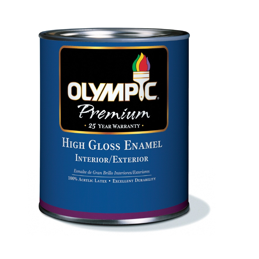 Shop Olympic White High Gloss Latex Interior Exterior Paint Actual Net Contents 28 Fl Oz At