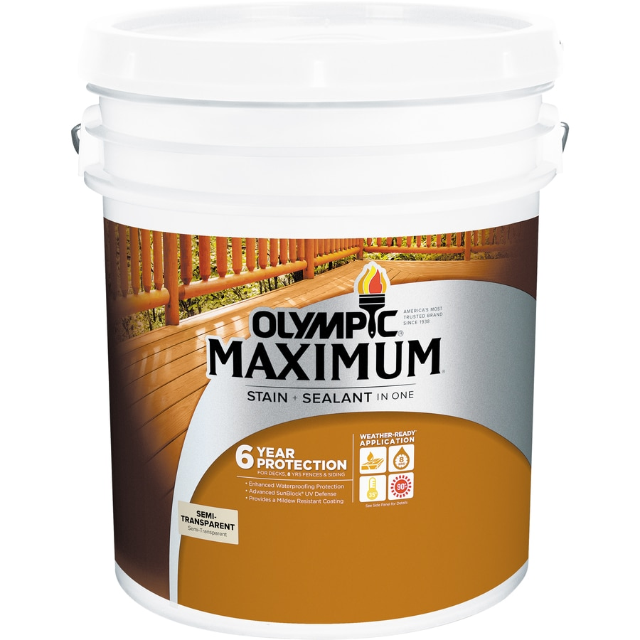 Olympic MAXIMUM Tintable Neutral Base Semi-Transparent Exterior Stain (Actual Net Contents: 599-fl oz)