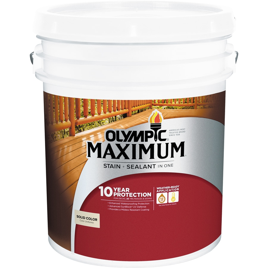 Olympic MAXIMUM Tintable White and Base 1 Solid Exterior Stain (Actual Net Contents: 599-fl oz)
