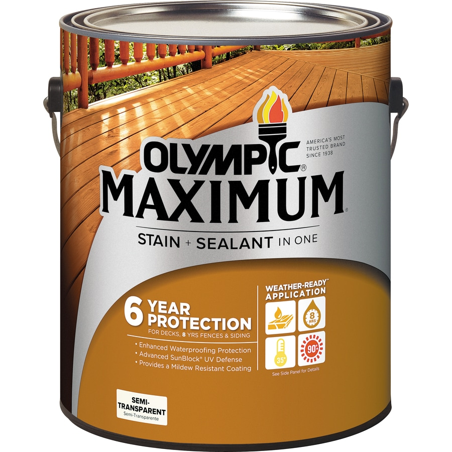 Delightful Olympic MAXIMUM Pre Tinted Redwood Naturaltone Semi Transparent Exterior  Stain (Actual Net Contents