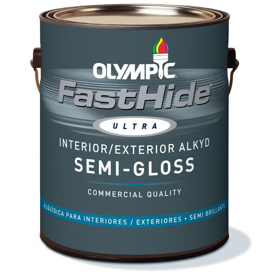 FastHide 1-Gallon Interior/Exterior Semi-Gloss White Oil-Base Paint
