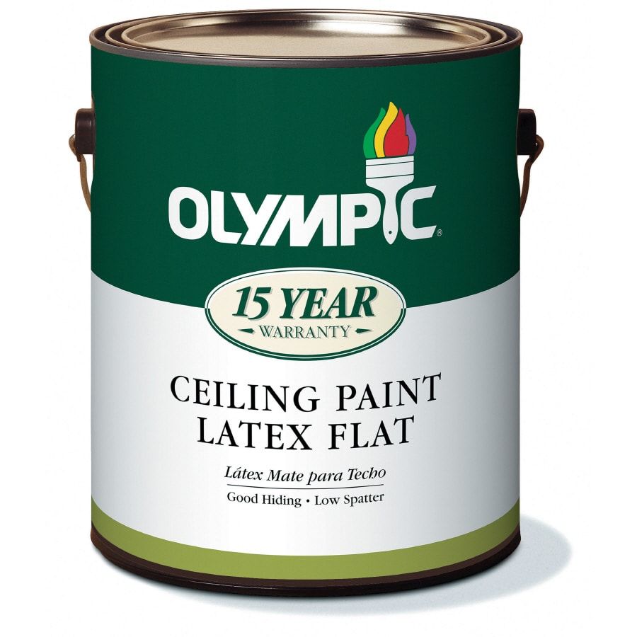 Shop Olympic 1 Gallon Interior Flat Antique White Latex Base Paint At