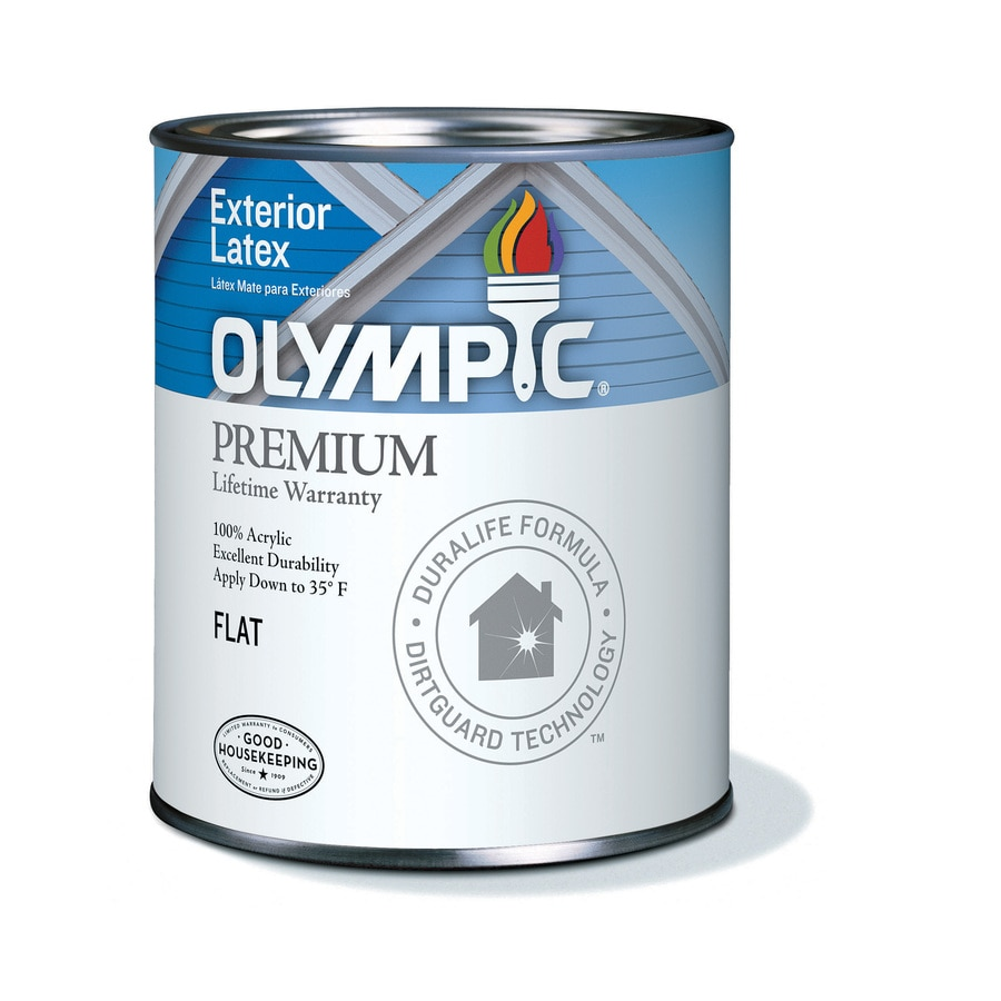 Shop Olympic White Flat Latex Exterior Paint Actual Net Contents 29 Fl Oz At