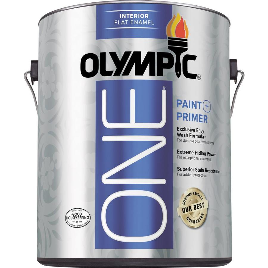 Olympic One Tintable Flat Latex Enamel Interior Paint and Primer in One (Actual Net Contents: 124-fl oz)