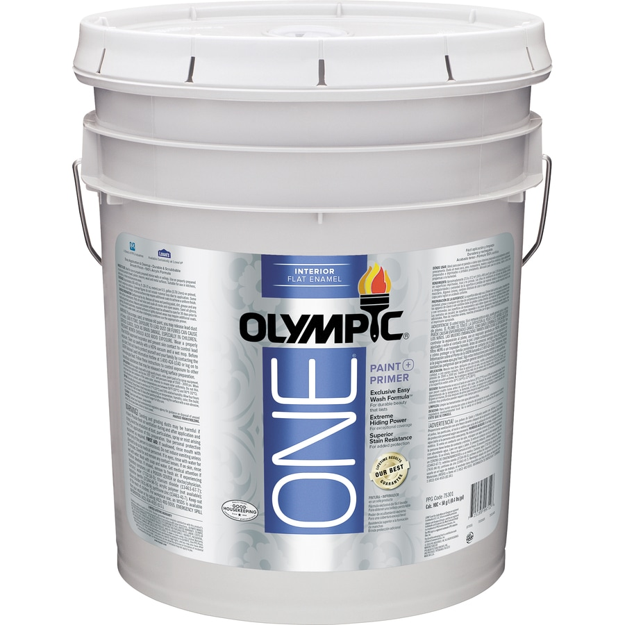 Shop olympic one tintable flat latex enamel interior paint Olympic premium exterior latex paint review