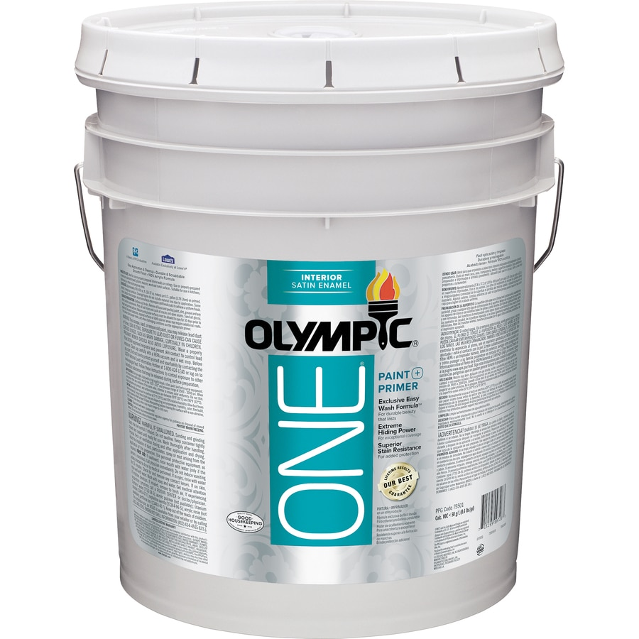 Shop Olympic One Tintable Satin Latex Enamel Interior Paint And Primer In One Actual Net