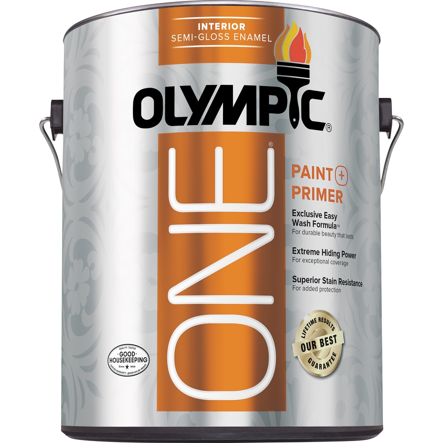 Olympic One Tintable Semi-gloss Latex Enamel Interior Paint and Primer in One (Actual Net Contents: 124-fl oz)