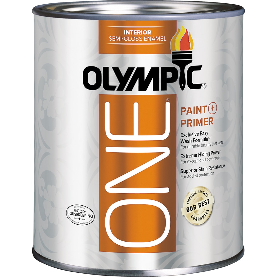 Shop Olympic One Tintable Semi Gloss Latex Enamel Interior Paint And Primer In One Actual Net