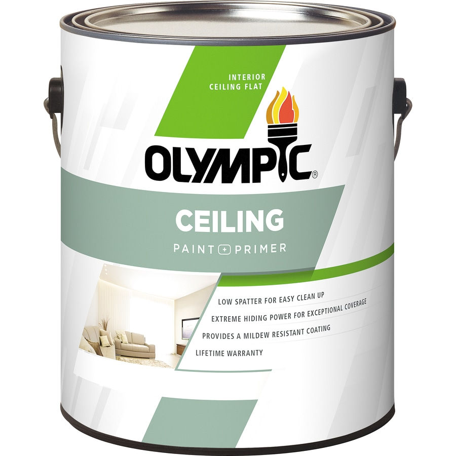 Shop olympic ceiling tintable flat latex interior paint Olympic premium exterior latex paint review