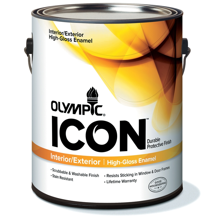 Shop Olympic White High Gloss Latex Interior Exterior Paint Actual Net Contents 124 Fl Oz At