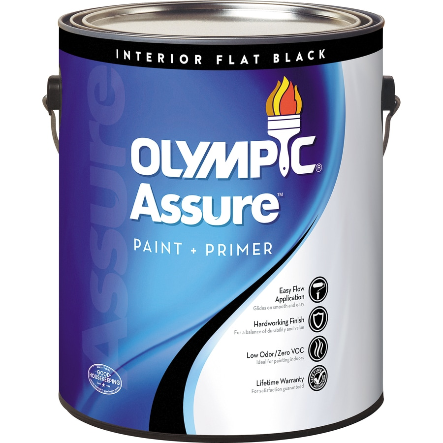 Olympic Assure Black Flat Latex Interior Paint and Primer in One (Actual Net Contents: 128-fl oz)
