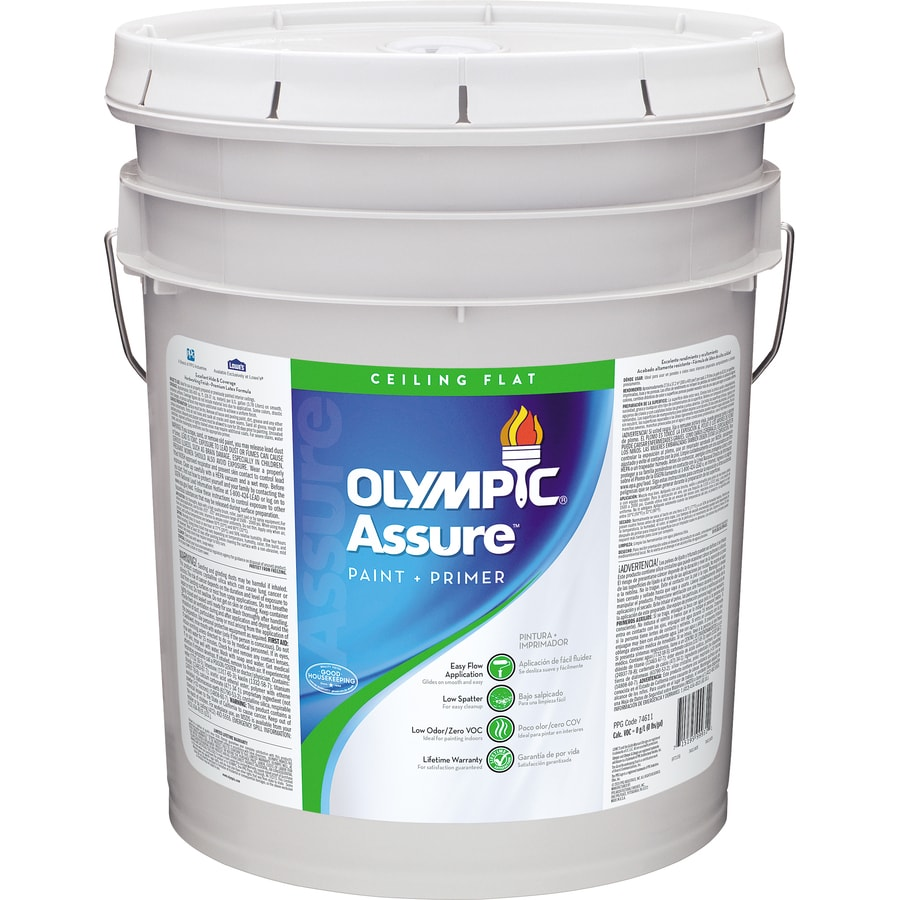Olympic N/A White Flat Latex Interior Paint and Primer in One (Actual Net Contents: 640-fl oz)