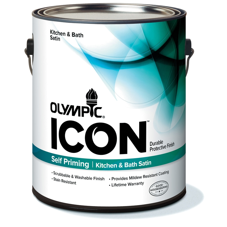 Olympic Gallon Size Container Interior Satin Kitchen and Bath Tintable White Latex-Base Paint (Actual Net Contents: 114-fl oz)
