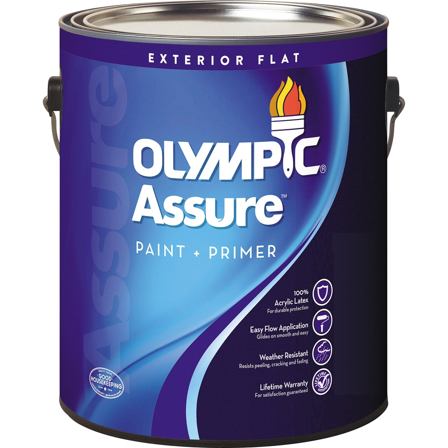 Shop Olympic Assure Flat Acrylic Exterior Paint Actual Net Contents 116 Fl Oz At