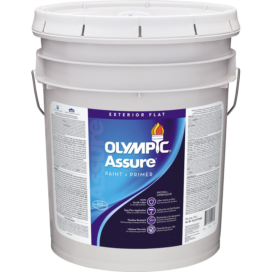 Shop olympic assure flat acrylic exterior paint actual net contents 570 fl oz at - Acrylic paint exterior plan ...