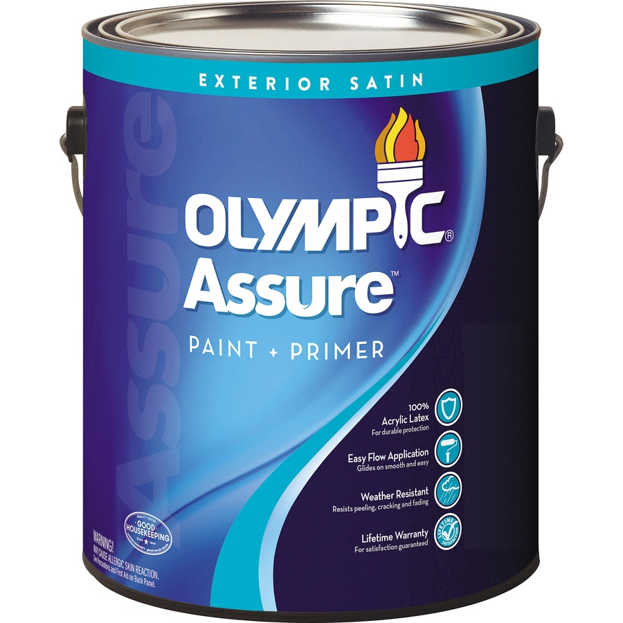 Shop olympic assure satin acrylic exterior paint actual net contents 124 fl oz at - Acrylic paint exterior plan ...