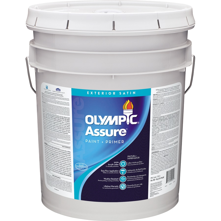 Shop olympic assure satin acrylic exterior paint actual net contents 619 fl oz at - Acrylic paint exterior plan ...