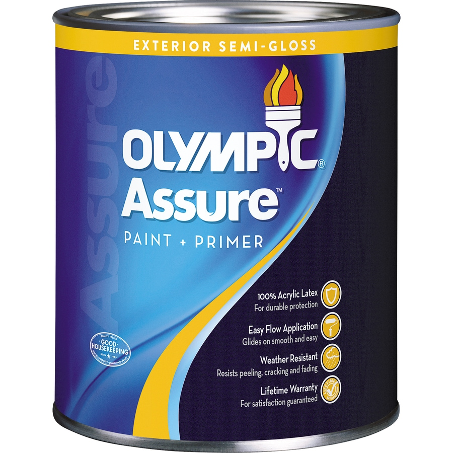 Shop olympic assure semi gloss acrylic exterior paint actual net contents 31 fl oz at - Acrylic paint exterior plan ...