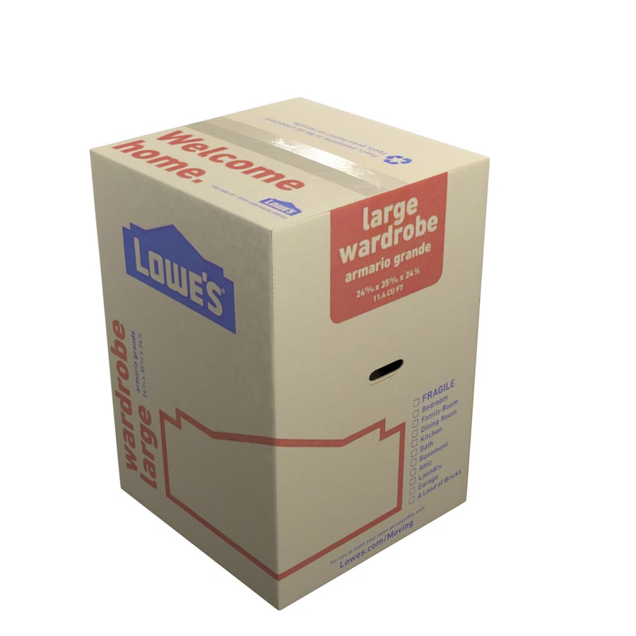 b9d27965727 Large Cardboard Wardrobe Moving Box with Handle Holes (Actual  24.8125-in x  35.8125