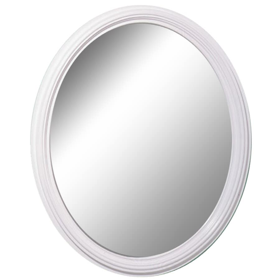 Shop style selections white oval wall mirror at for White framed mirror
