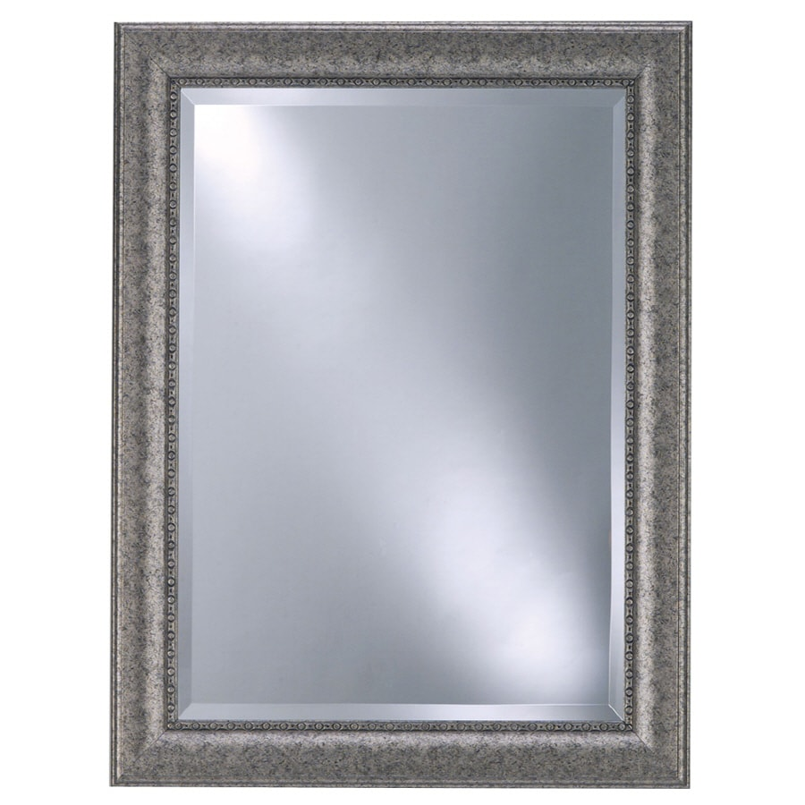 Style Selections 25.125-in x 33.125-in Pewter Beveled Rectangle Framed Contemporary Wall Mirror