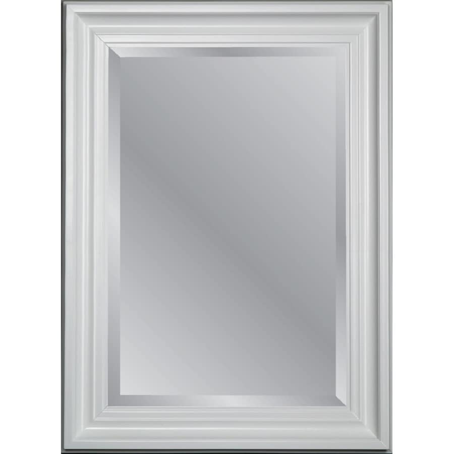 Allen + Roth White Beveled Wall Mirror