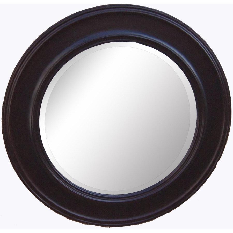 allen + roth Espresso Round Framed Wall Mirror