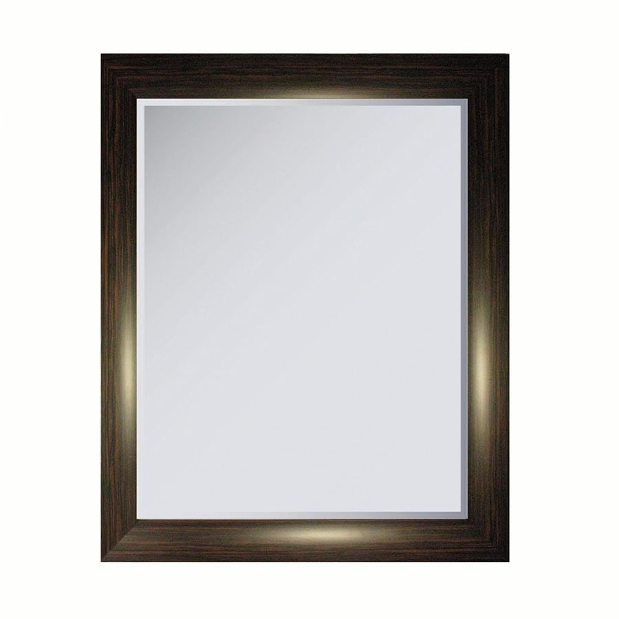 allen + roth 34.25-in x 27.625-in Faux Ebony Makassar Rectangle Framed Wall Mirror