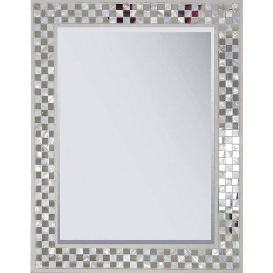 Style Selections 22.125-in x 28.375-in Cream Polished Rectangle Framed Mosaic Wall Mirror