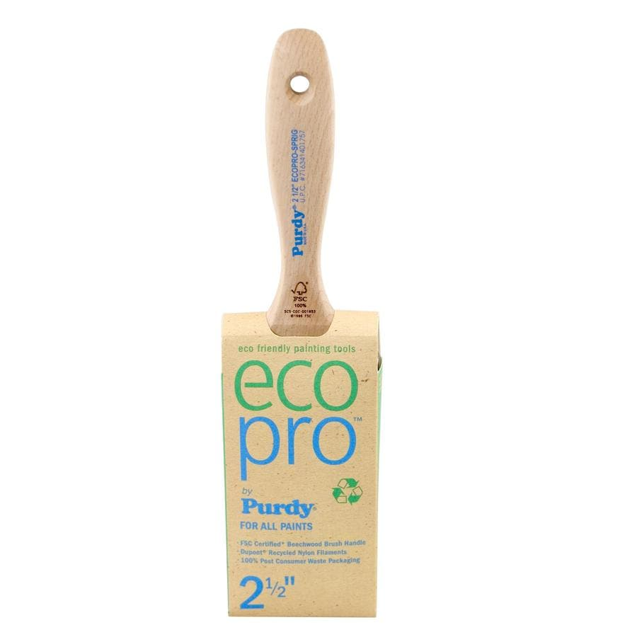 Purdy Eco Pro Sprig Polyester Nylon Blend Flat Sash Paint Brush (Common: 2.5-in; Actual: 2.5-in)