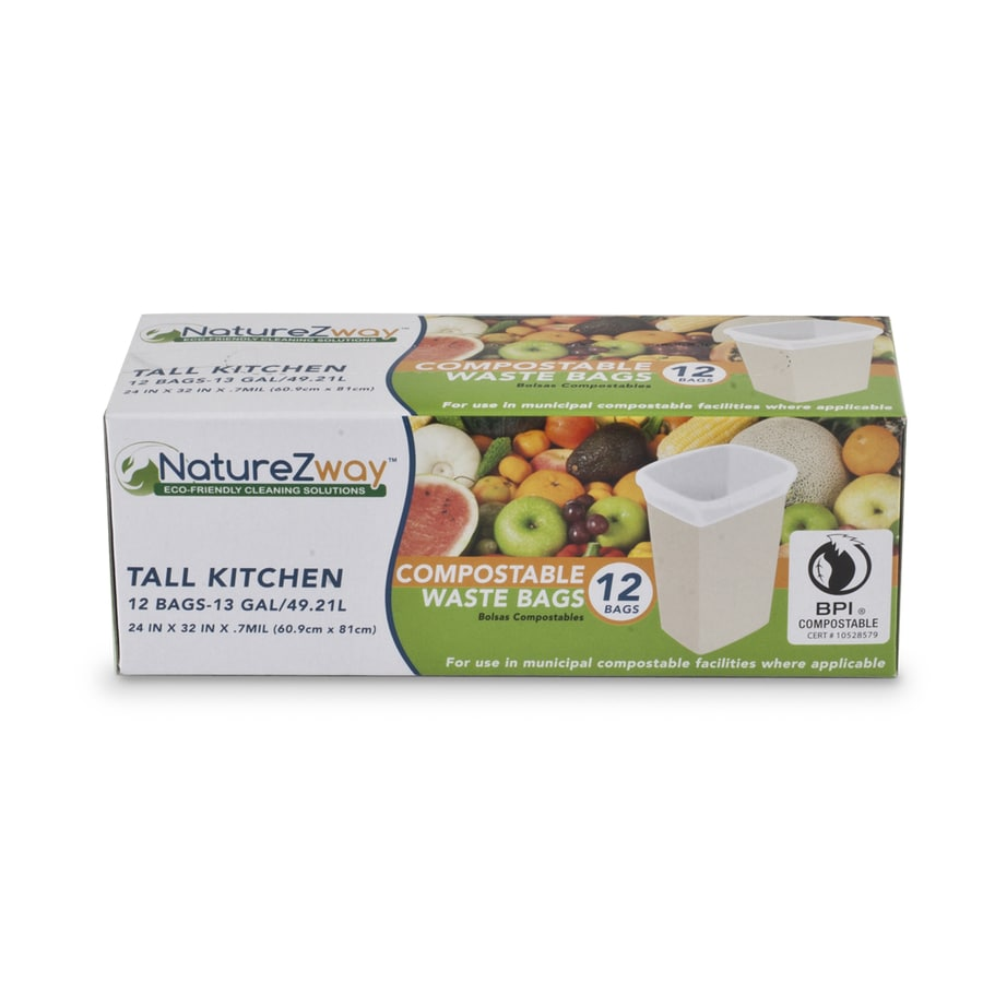 NatureZway 12-Count 13-Gallon Frosted White Indoor Kitchen Trash Bags