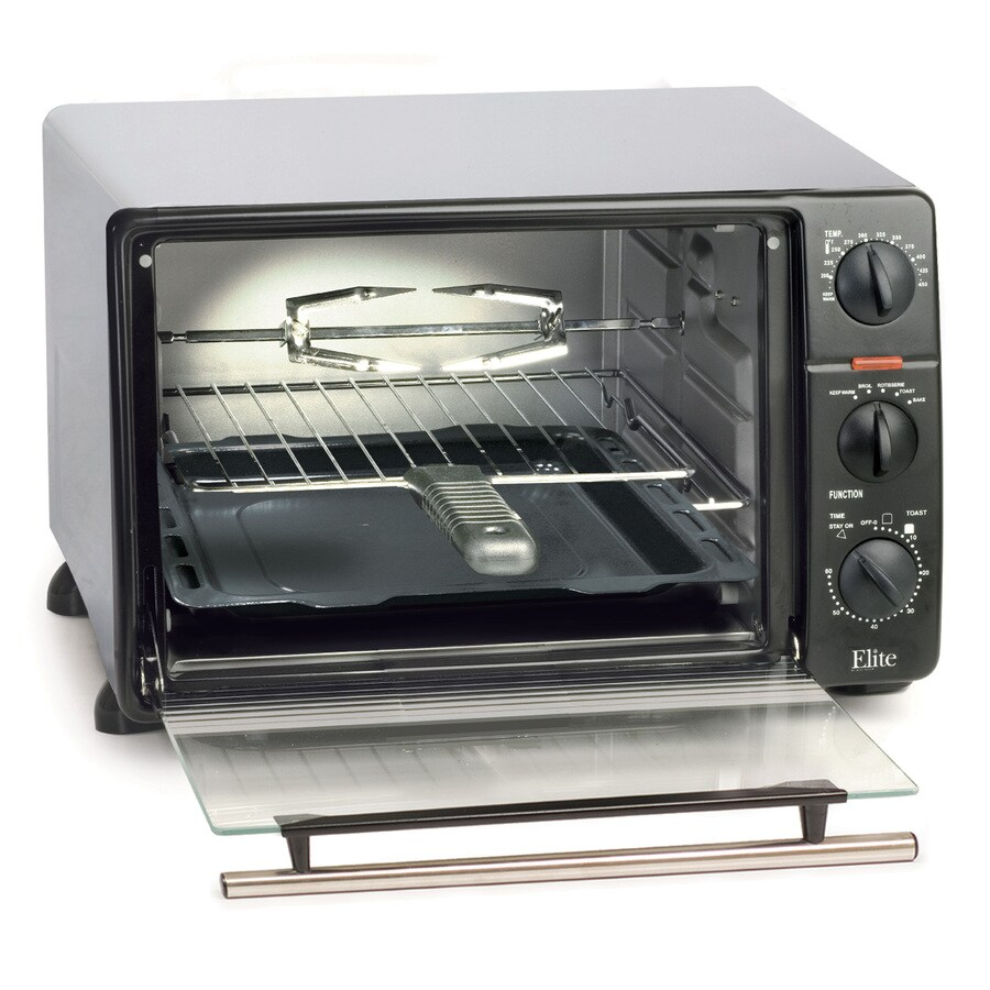 Elite 6-Slice Black Toaster Oven with Rotisserie and Auto Shut-Off