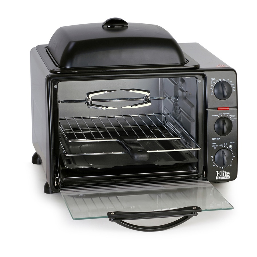 Elite 6-Slice Black Convection Toaster Oven with Rotisserie and Auto Shut-Off