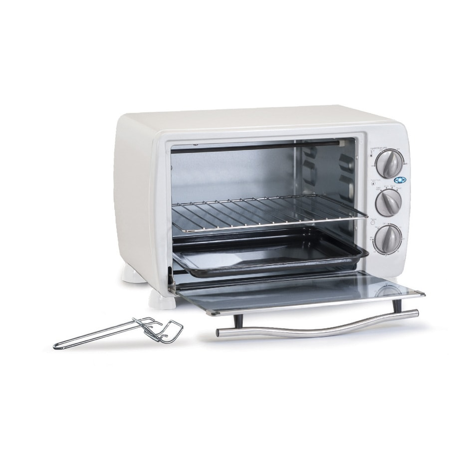 Elite 6-Slice White Toaster Oven with Auto Shut-Off