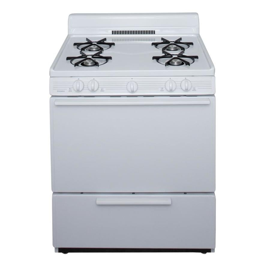 Premier Freestanding 3.9-cu ft Gas Range (White) (Common: 30-in; Actual: 30-in)