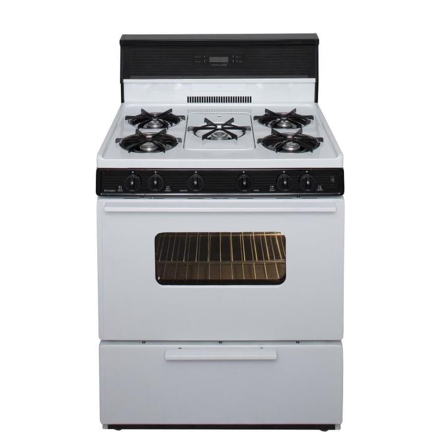 Premier 5-Burner Freestanding 3.9-cu ft  Gas Range (White with Black Trim) (Common: 30-in; Actual: 30-in)