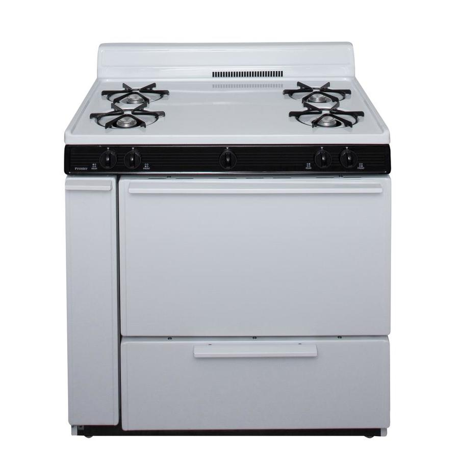 Premier 4-Burner Freestanding 3.9-cu ft  Gas Range (White with Black Trim) (Common: 30-in; Actual: 36-in)