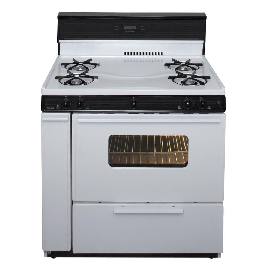 Premier 4-Burner Freestanding 3.9-cu ft Gas Range (White with Black Trim) (Common: 36-in; Actual: 36-in)