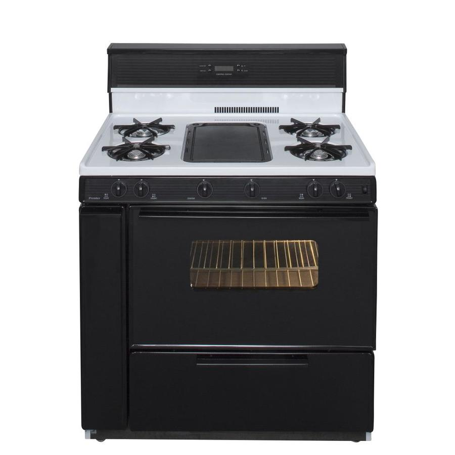 Premier 5-Burner Freestanding 3.9-cu ft Gas Range (White with Black Trim) (Common: 36-in; Actual: 36-in)