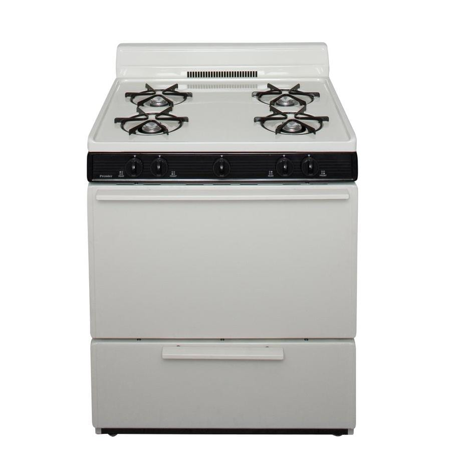 Premier 4-Burner Freestanding 3.9-cu ft Gas Range (Biscuit with Black Trim) (Common: 30-in; Actual: 30-in)